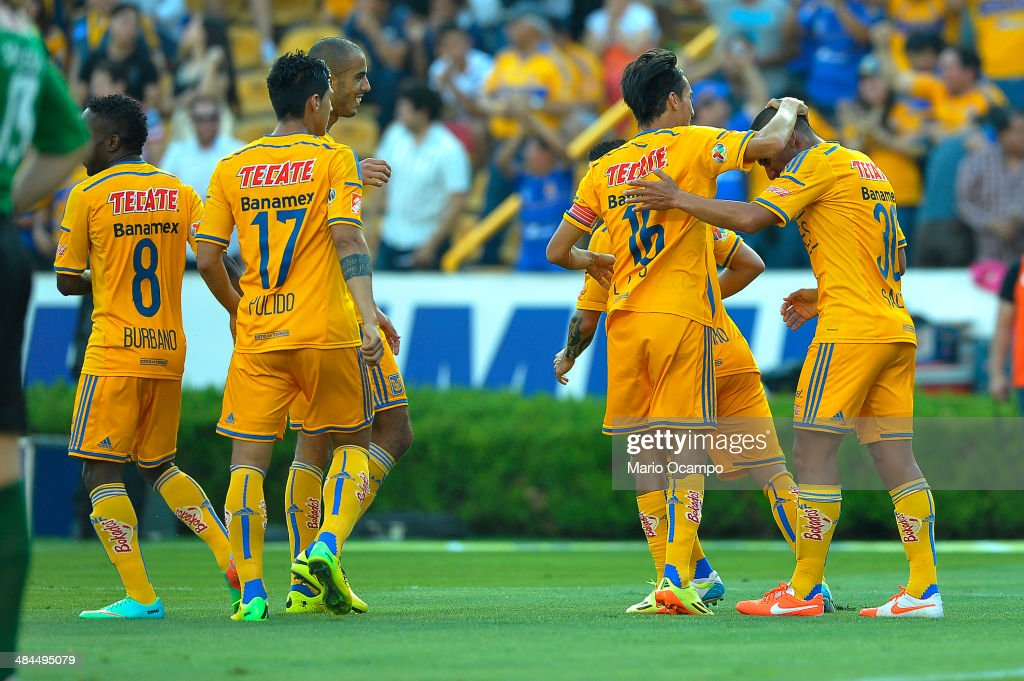 Carlos Salcido of Tigres celebrates with teammates after scoring the goal of his team during a match between Tigres UANL and Tijuana as part of 15th round Clausura 2014 Liga MX at Universitario Stadium on April 12, 2014 in Monterrey, Mexico.