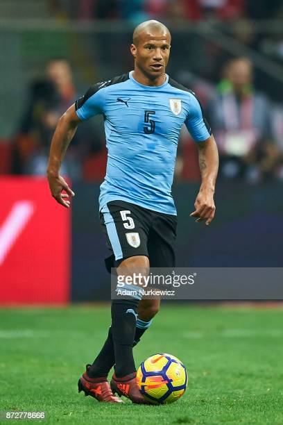 Carlos Sanchez from Uruguay controls the ball while Poland v Uruguay International Friendly soccer match at National Stadium on November 10 2017 in...