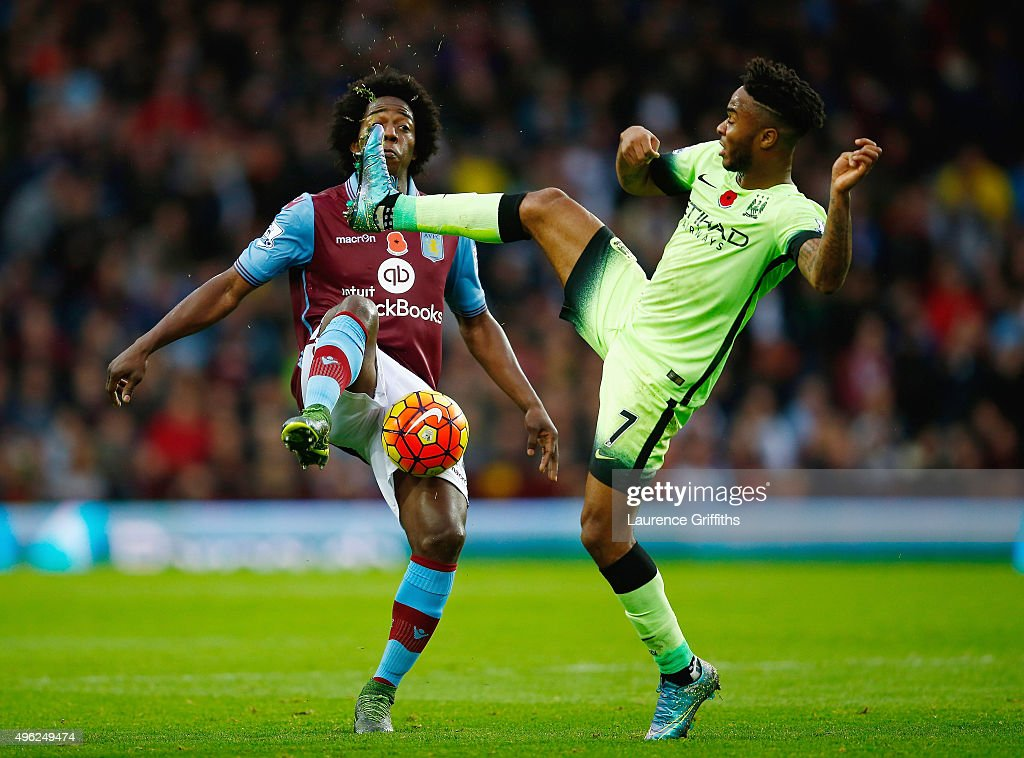 Carlos Sanchez of Aston Villa and Raheem Sterling of Manchester City compete for the ball during the Barclays Premier League match between Aston Villa and Manchester City at Villa Park on November 8, 2015 in Birmingham, England.