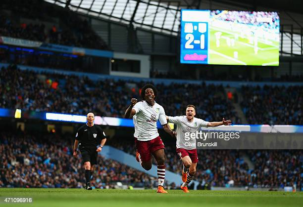 Carlos Sanchez of Aston Villa celebrates his goal with Tom Cleverley of Aston Villa during the Barclays Premier League match between Manchester City...