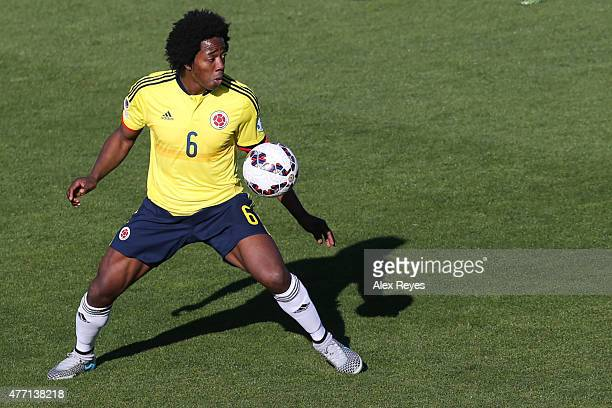 Carlos Sanchez of Colombia controls the ball during the 2015 Copa America Chile Group C match between Colombia and Venezuela at El Teniente Stadium...