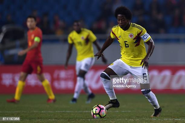 Carlos Sanchez of Colombia in action during International Friendly Football Match between China and Colombia at the Chongqing Olympic Sports Center...