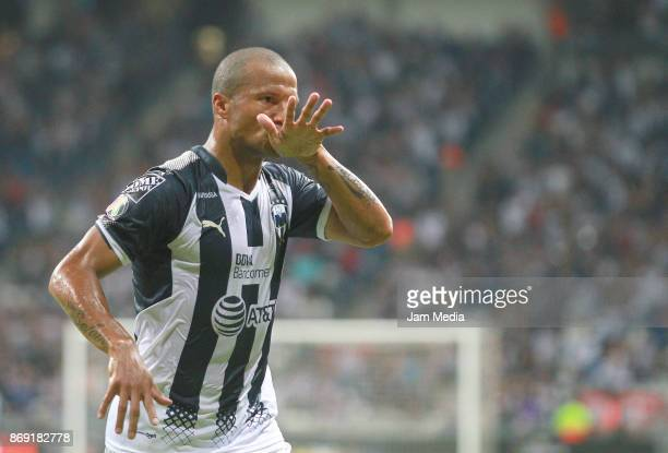 Carlos Sanchez of Monterrey celebrates after scoring the second goal of his team during the quarter final match between Monterrey and Santos Laguna...