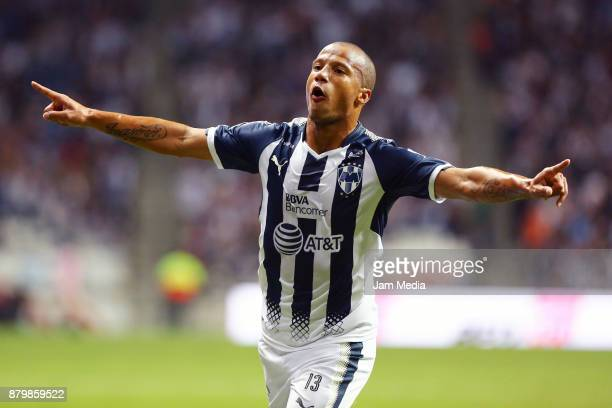 Carlos Sanchez of Monterrey celebrates after scoring the second goal of his team during the quarter finals second leg match between Monterrey and...
