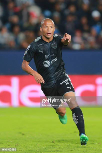 Carlos Sanchez of Monterrey celebrates after scoring the second goal of his team during the 13th round match between Pachuca and Monterrey as part of...