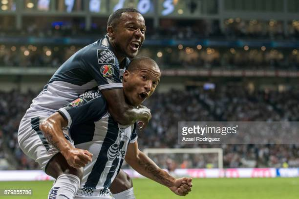 Carlos Sanchez of Monterrey celebrates with teammate Dorlan Pabon after scoring his team´s second goal during the quarter finals second leg match...