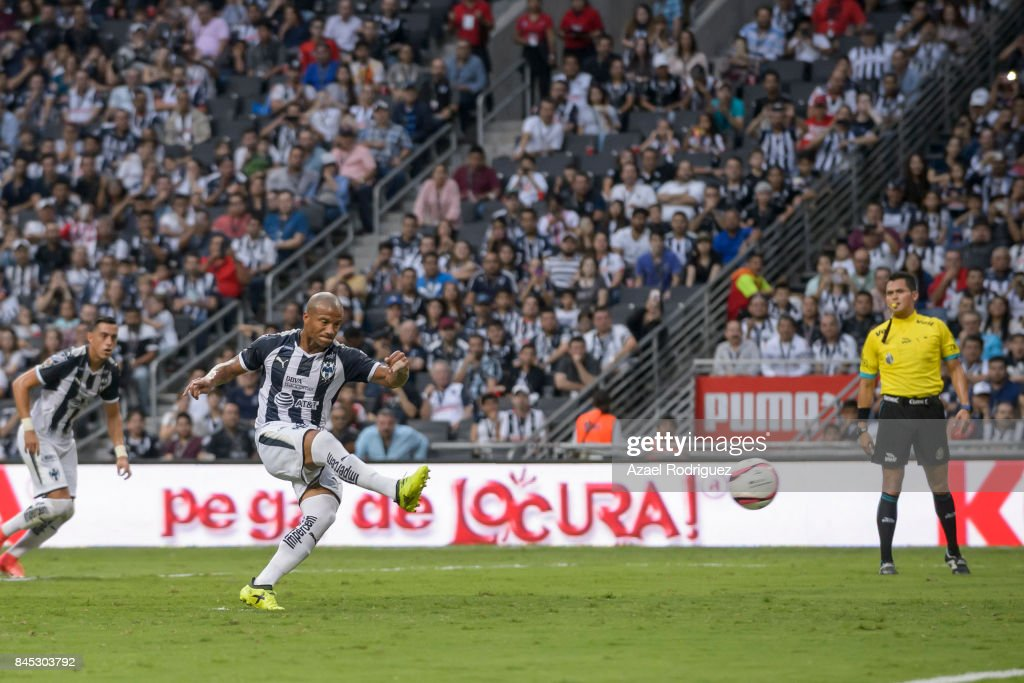 Carlos Sanchez of Monterrey fails a penalty kick during the 8th round match between Monterrey and Necaxa as part of the Torneo Apertura 2017 Liga MX at BBVA Bancomer Stadium on September 9, 2017 in Monterrey, Mexico.