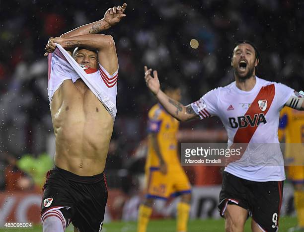 Carlos Sanchez of River Plate celebrates after scoring his team's second goal during a second leg final match between River Plate and Tigres UANL as...