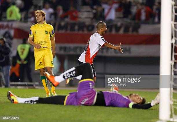 Carlos Sanchez of River Plate celebrates after scoring the first goal of his team during a match between River Plate and Defensa y Justicia as part...