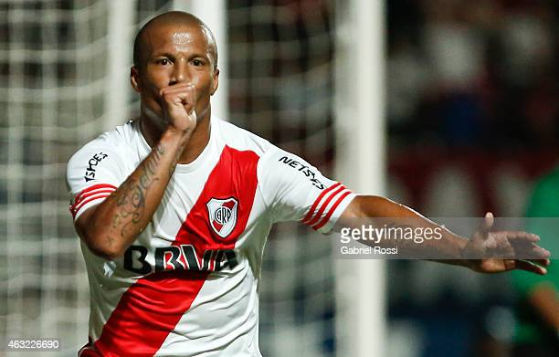 Carlos Sanchez of River Plate celebrates after scoring the first goal of his team during a second leg match between San Lorenzo and River Plate as...