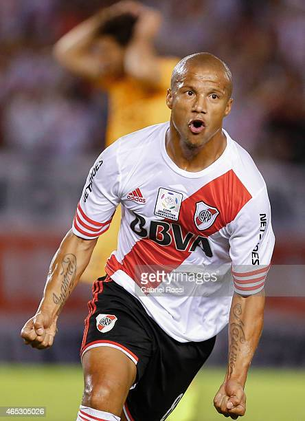 Carlos Sanchez of River Plate celebrates after scoring the first goal of his team during a match between River Plate and Tigres as part of second...