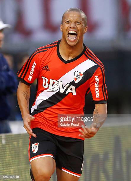Carlos Sanchez of River Plate celebrates after scoring the second goal of his team during a match between Banfield and River Plate as part of round...