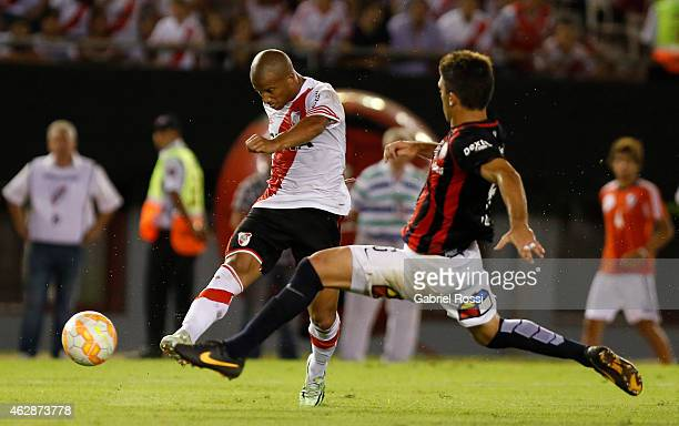 Carlos Sanchez of River Plate Plate kicks the ball to score the first goal during a first leg match between River Plate Plate and San Lorenzo as part...