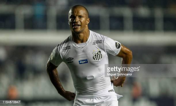 Carlos Sanchez of Santos celebrates a team third goal during a match between Santos and Atletico MG for the Brasileirao Series A 2019 at Vila Belmiro...