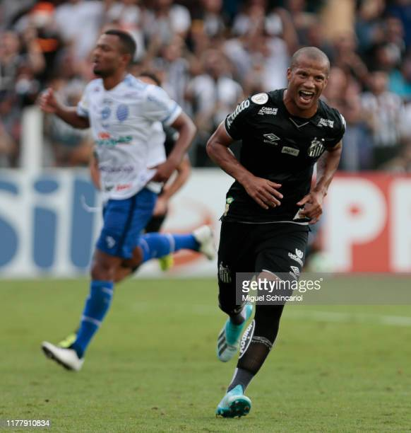 Carlos Sanchez of Santos celebrates his team first goal during a match between Santos and CSA for the Brasileirao Series A 2019 at Vila Belmiro...