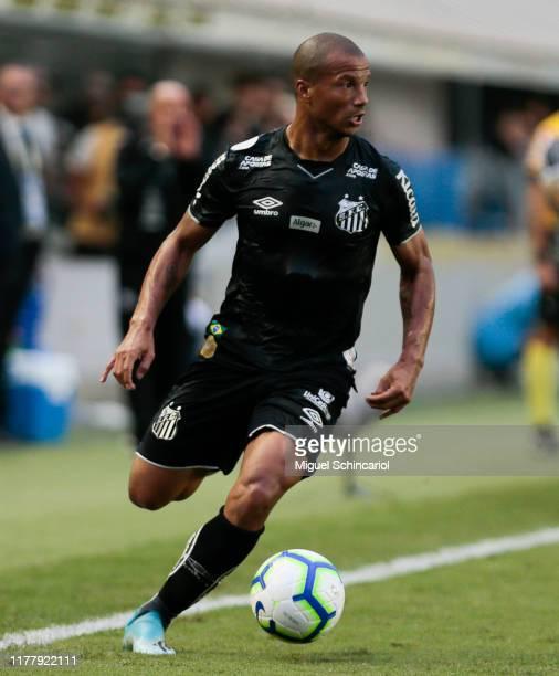 Carlos Sanchez of Santos controls the ball during a match between Santos and CSA for the Brasileirao Series A 2019 at Vila Belmiro Stadium on...