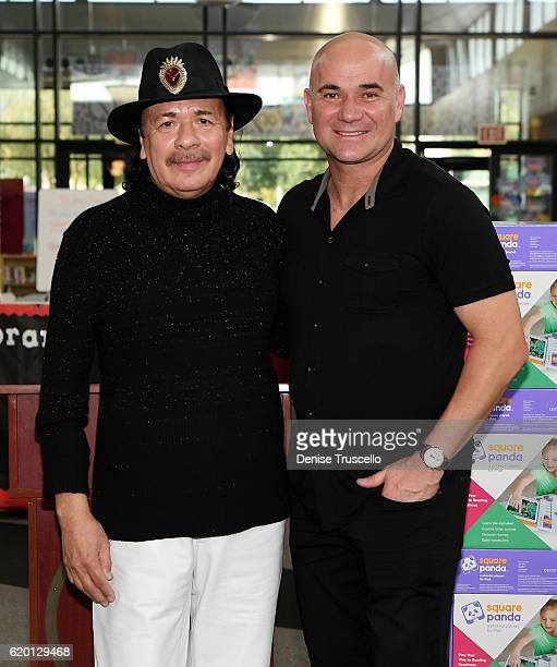 Carlos Santana and Andre Agassi attend a press conference to announce a special partnership and research project with Square Panda and the Andre...