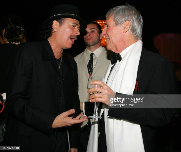 Carlos Santana and Burt Bacharach during Clive Davis' 2006 PreGRAMMY Awards Party Dinner at Beverly Hilton Hotel in Beverly Hills California United...