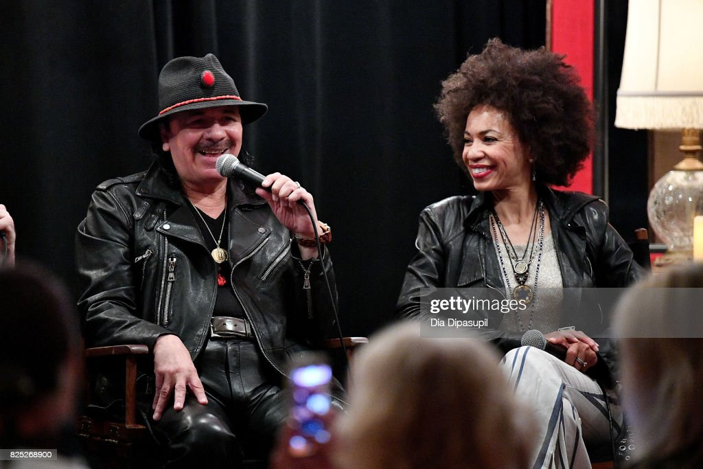 Carlos Santana (L) and Cindy Blackman Santana attend the Santana and The Isley Brothers Media Event at Electric Lady Studio on August 1, 2017 in New York City.