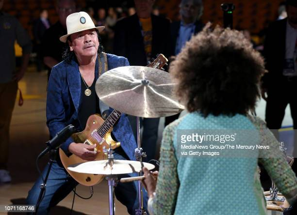 Carlos Santana and his wife Cindy Blackman Santana do their national anthem sound check before the Golden State Warriors take on the Cleveland...
