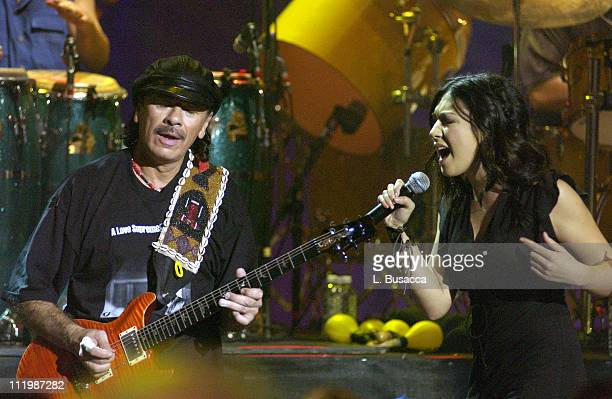 """Carlos Santana and Michelle Branch during Carlos Santana and Friends Play A&E's """"Live By Request"""" at Sony Studios in New York, NY, United States."""