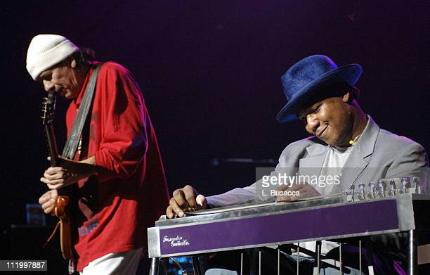 Carlos Santana and Robert Randolph during Santana Celebrates The Launch of New CD All That I Am at the Hammerstein Ballroom in New York City at...