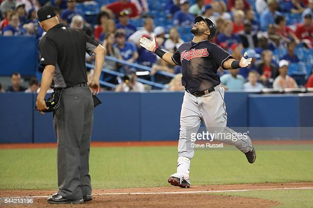 TORONTO ON JULY 1 Carlos Santana celebrates his 19th inning home run as the Toronto Blue Jays lose the Cleveland Indians 21 in 19 innings on Canada...