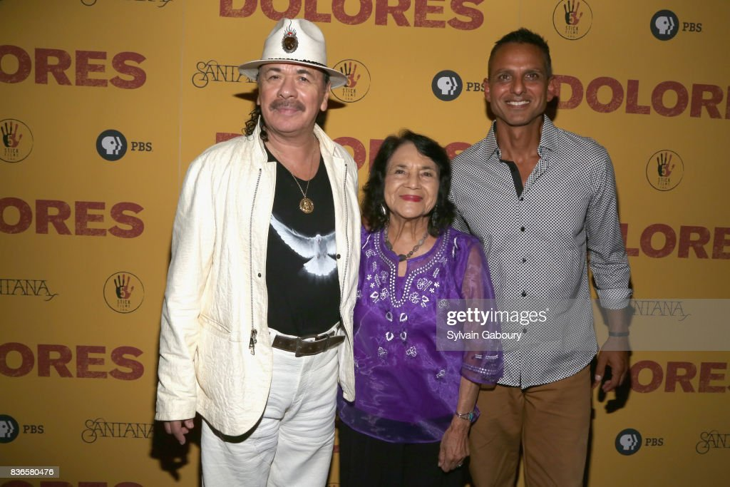 Carlos Santana, Dolores Huerta and Peter Bratt attend 'Dolores' New York Premiere at Metrograph on August 21, 2017 in New York City.
