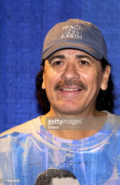 Carlos Santana during Super Bowl XXXVII PreGame Show Press Conference at Qualcomm Stadium in San Diego California United States