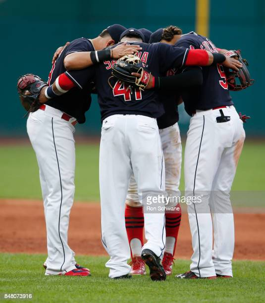 Carlos Santana Erik Gonzalez Giovanny Urshela and Francisco Lindor of the Cleveland Indians celebrate an 84 victory over the Kansas City Royals at...