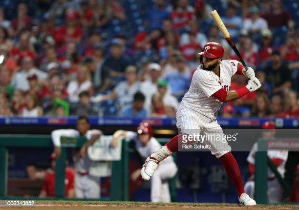 Carlos Santana in action against the San Diego Padres during game two of a doubleheader at Citizens Bank Park on July 22 2018 in Philadelphia...