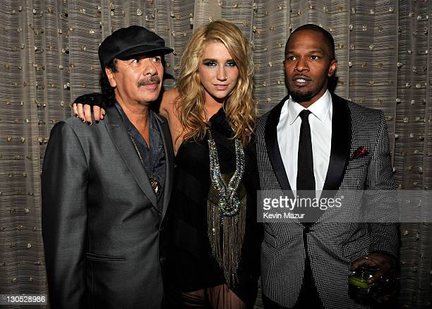 Carlos Santana Ke$ha and Jamie Foxx at the 52nd Annual GRAMMY Awards Salute To Icons Honoring Doug Morris held at The Beverly Hilton Hotel on January...