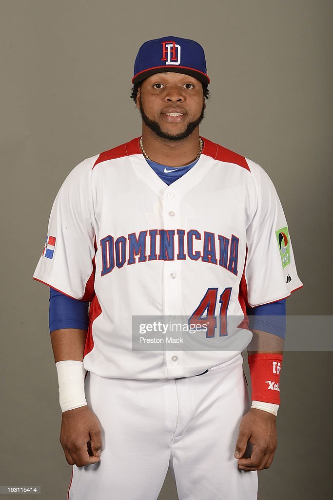 Carlos Santana #41 of Team Dominican Republic poses for a headshot for the 2013 World Baseball Classic on March 4, 2013 at George M. Steinbrenner Field in Tampa, Florida.