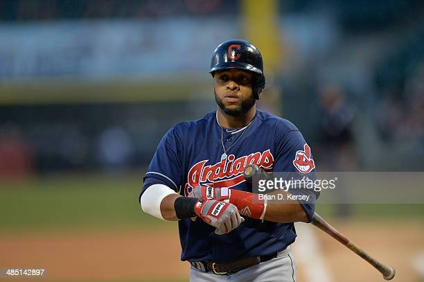 Carlos Santana of the Cleveland Indians bats during the first inning against the Chicago White Sox at US Cellular Field on April 11 2014 in Chicago...