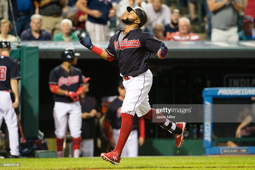Carlos Santana #41 of the Cleveland Indians celebrates after hitting a solo home run during the third inning against the Kansas City Royals at Progressive Field on September 20, 2016 in Cleveland, Ohio.