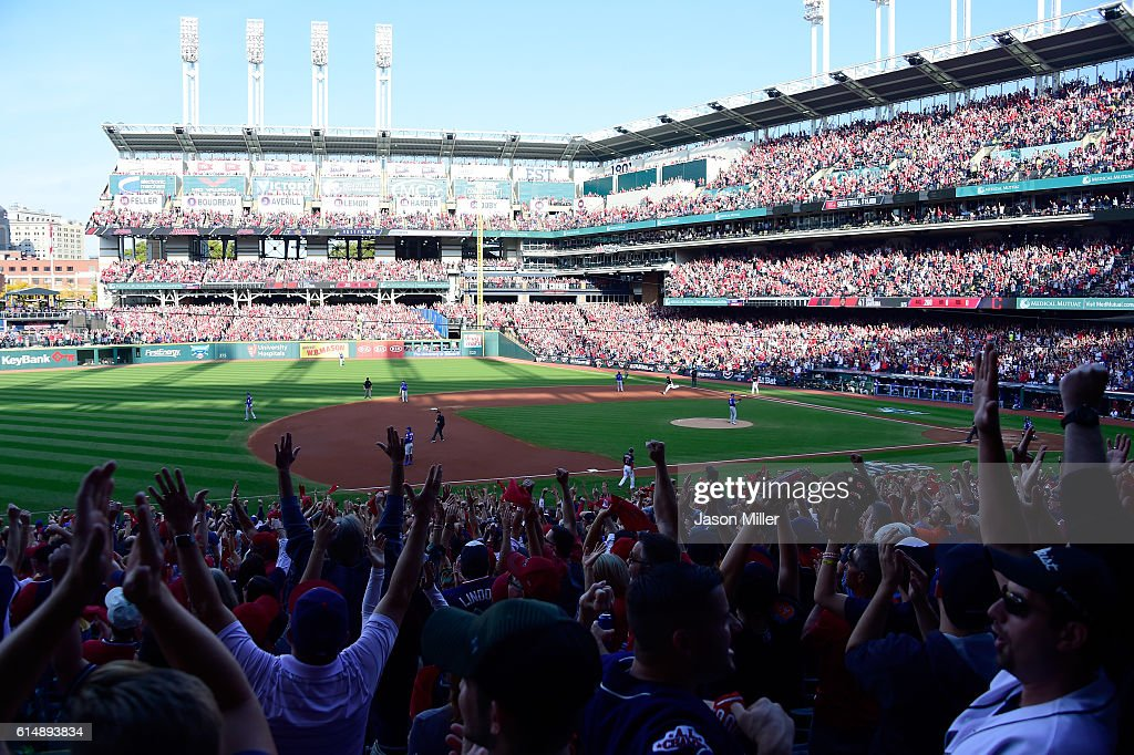 Carlos Santana #41 of the Cleveland Indians celebrates after hitting a home run in the second inning against J.A. Happ #33 of the Toronto Blue Jays during game two of the American League Championship Series at Progressive Field on October 15, 2016 in Cleveland, Ohio.
