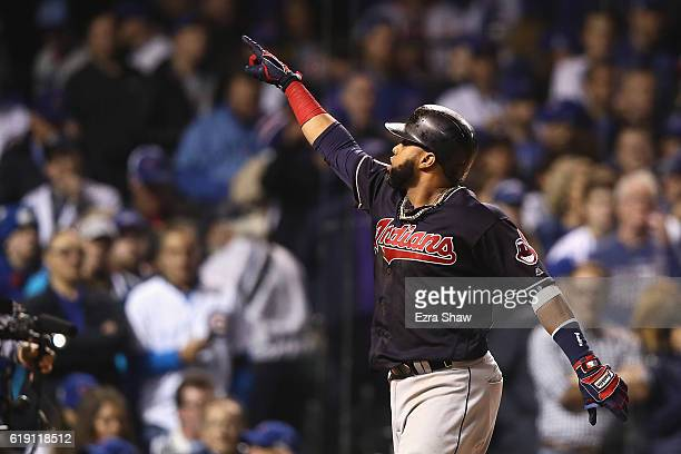 Carlos Santana of the Cleveland Indians celebrates after hitting a home run in the second inning against the Chicago Cubs in Game Four of the 2016...