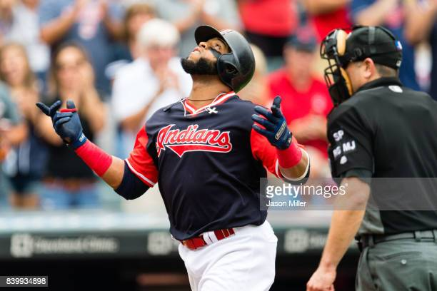 Carlos Santana of the Cleveland Indians celebrates after hitting a three run home run during the second inning against the Kansas City Royals at...