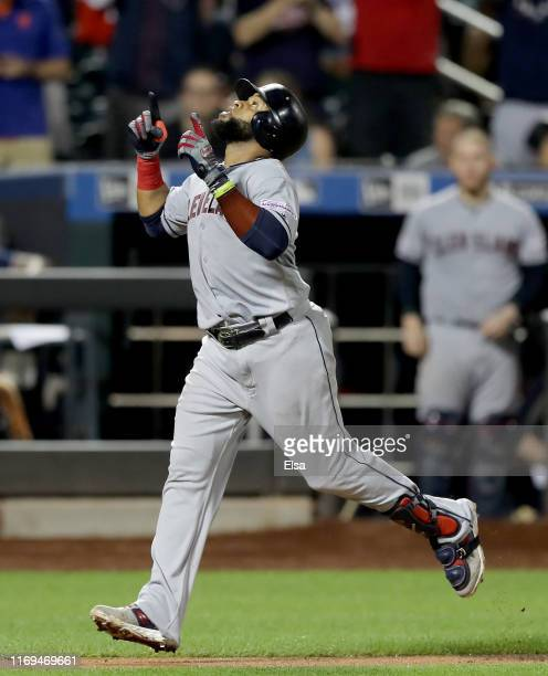 Carlos Santana of the Cleveland Indians celebrates his solo home run in the 10th inning against the New York Mets at Citi Field on August 21 2019 in...