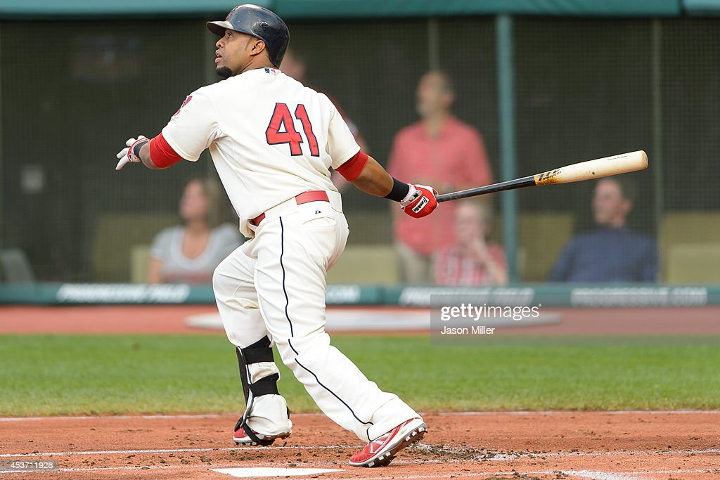 Carlos Santana #41 of the Cleveland Indians hits a three-run home run during the first inning against the Baltimore Orioles at Progressive Field on August 16, 2014 in Cleveland, Ohio.