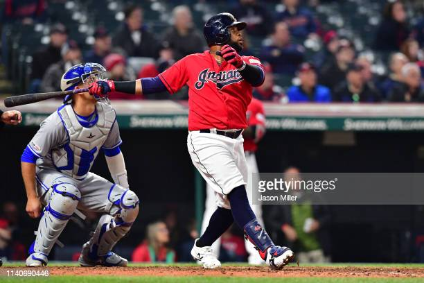 Carlos Santana of the Cleveland Indians hits a walkoff solo home run during the ninth inning against the Toronto Blue Jays at Progressive Field on...