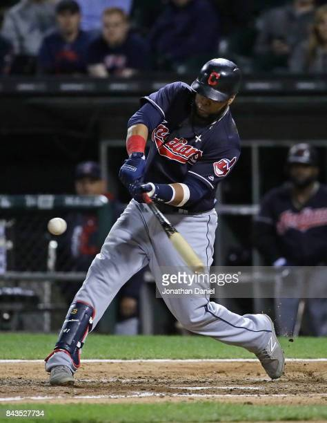 Carlos Santana of the Cleveland Indians hits two run home run in the 8th inning against the Chicago White Sox at Guaranteed Rate Field on September 6...