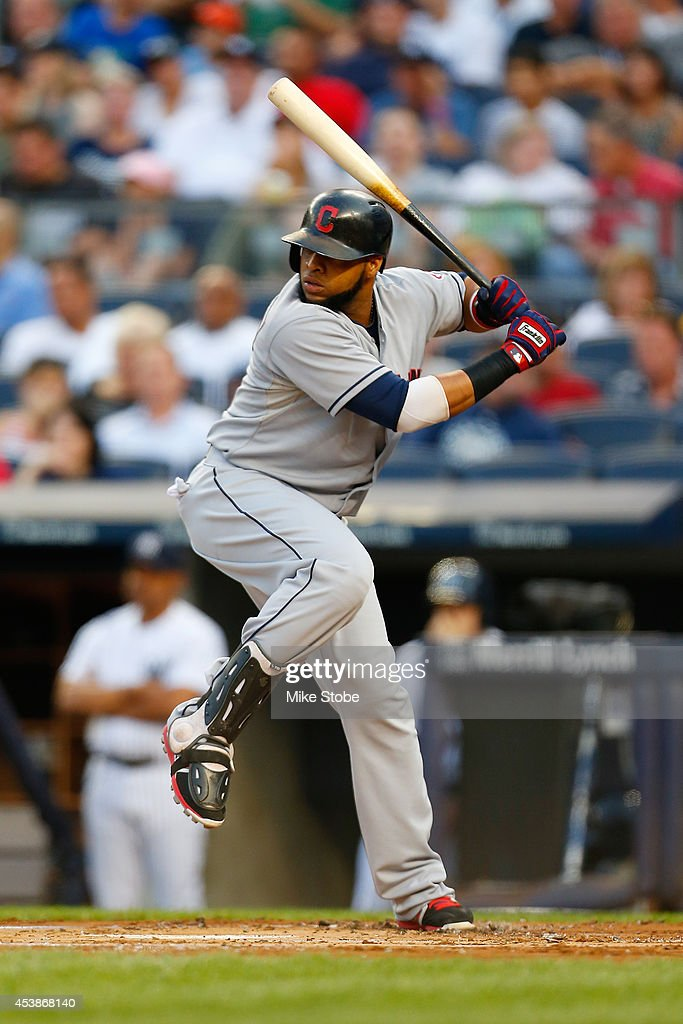 Carlos Santana #41 of the Cleveland Indians in action against the New York Yankees at Yankee Stadium on August 8, 2014 in the Bronx borough of New York City. Yankees defeated the Indians 10-6.
