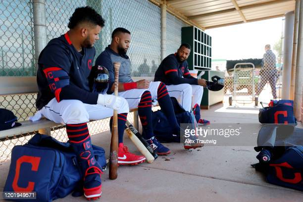 Carlos Santana of the Cleveland Indians looks on during a workout on Wednesday, February 19, 2020 at Goodyear Ballpark in Goodyear, Arizona.