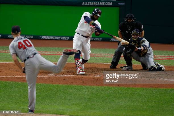 Carlos Santana of the Cleveland Indians participates in the 2019 MLB AllStar Game at Progressive Field on July 09 2019 in Cleveland Ohio