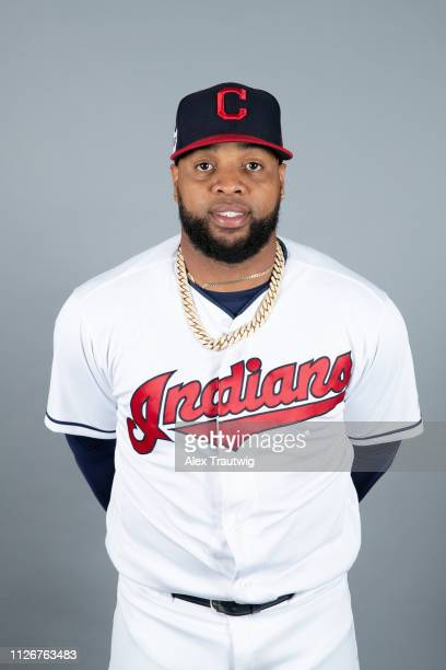 Carlos Santana of the Cleveland Indians poses during Photo Day on Thursday February 21 2019 at Goodyear Ballpark in Goodyear Arizona