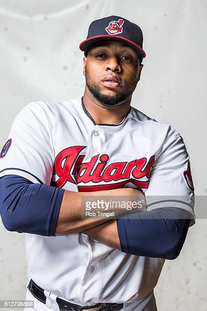Carlos Santana of the Cleveland Indians poses for a portrait during photo day at the Cleveland Indians Development Complex on February 27 2016 in...