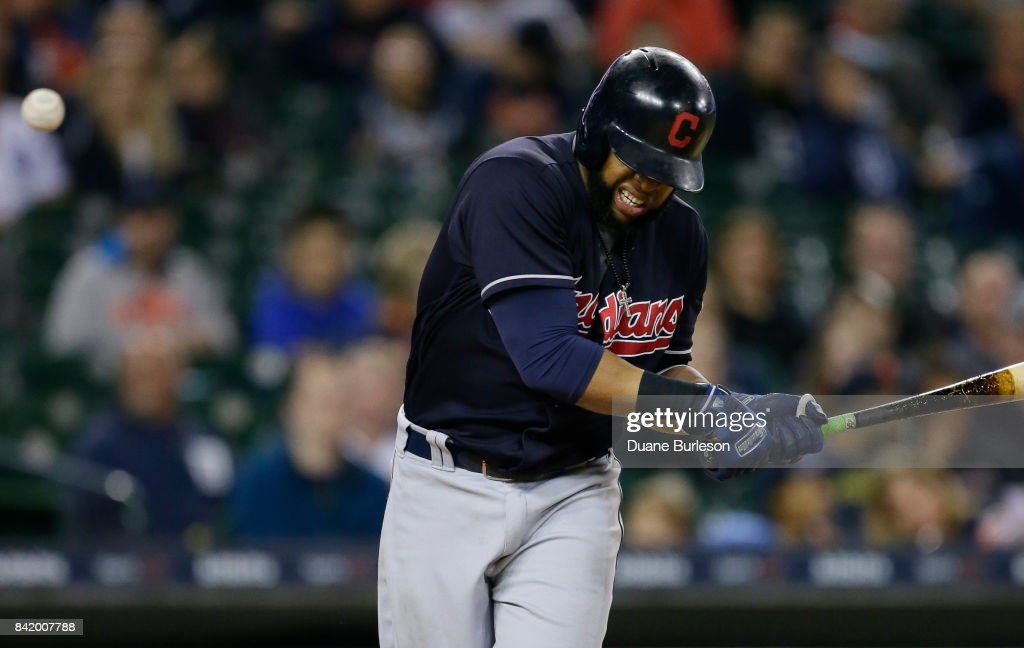 Carlos Santana #41 of the Cleveland Indians reacts after getting hit by a pitch from Myles Jaye of the Detroit Tigers during the ninth inning at Comerica Park on September 2, 2017 in Detroit, Michigan. The Indians defeated the Tigers 5-2.
