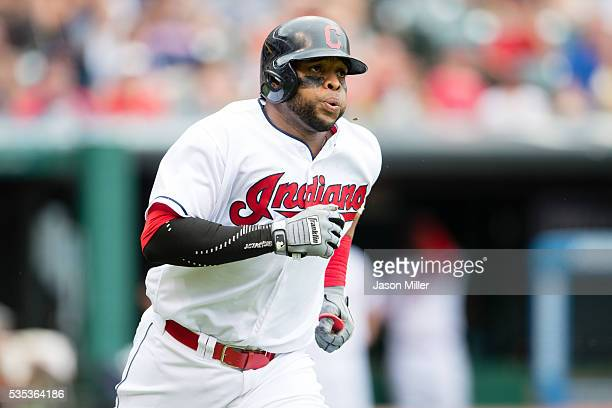 Carlos Santana of the Cleveland Indians rounds the bases after hitting a solo home run during the fourth inning against starting pitcher Chris...