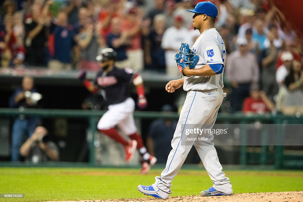 Carlos Santana #41 of the Cleveland Indians rounds the bases after hitting a solo home run off starting pitcher Edinson Volquez #36 of the Kansas City Royals during the third inning at Progressive Field on September 20, 2016 in Cleveland, Ohio.